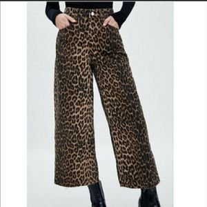 NWT Zara TRF leopard mid rise culotte